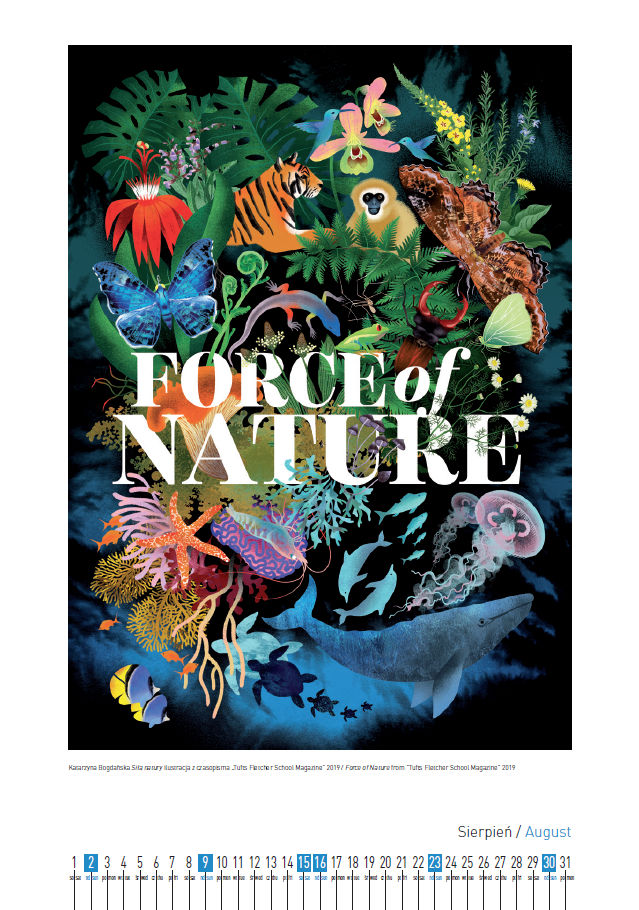 "Katarzyna Bogdańska  Siła natury ilustracja z czasopisma ""Tufts Fletcher School Magazine"" 2019 / Force of Nature from  ""Tufts Fletcher School Magazine"" 2019"